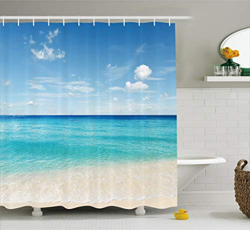 Ambesonne Ocean Decor Collection, Tropical Caribbean Sea Shore Sand Beach and Peaceful Sea Picture, Polyester Fabric Bathroom Shower Curtain Set with Hooks, 75 Inches Long, Aqua Blue White Ivory ()
