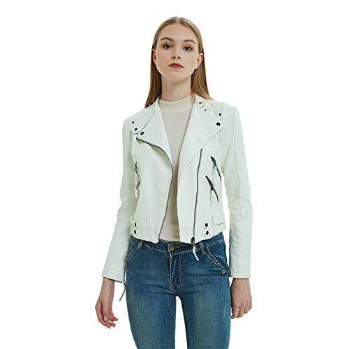 Dora Bridal Women's Faux Leather Jackets Zip Up Motorcycle Short PU Moto Biker Outwear Fitted Slim Coat Jacket White -