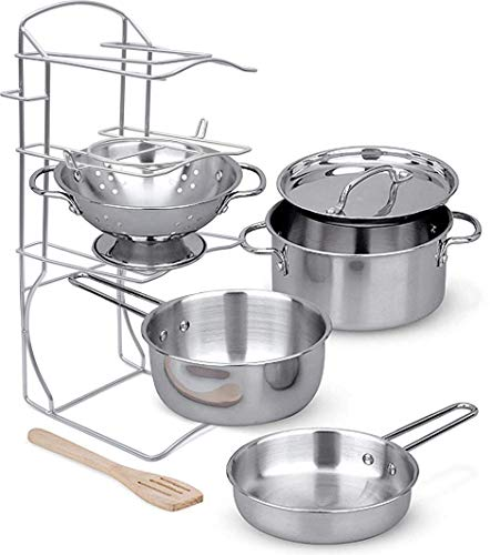 Click N' Play Stainless Steel Cookware Pots and Pans with Pot Rack Organizer and Cooking Utensil Pretend Play Kitchen Set for Kids 7 Pcs. Playset -