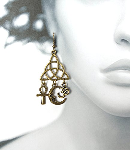 Bronzetone Dangle Earrings w/ Egyptian Ankh, Pagan Crescent Moon, Hindu Om & Celtic Triquetra, 2.5 Inches