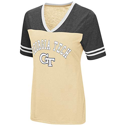 Colosseum Women's NCAA Varsity Jersey V-Neck T-Shirt-Georgia Tech Yellow Jackets-Old Gold-Small