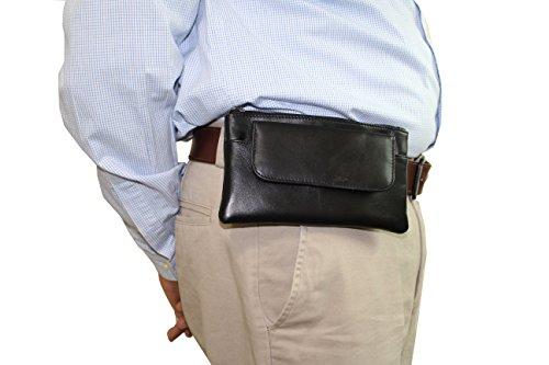 - Black Belt Loop Pouch Leather Case for Smart i Phones Waist Passport Holder Money Wallet