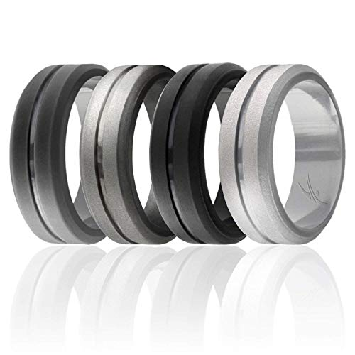 (ROQ Silicone Wedding Ring for Men, Set of 4 Elegant, Affordable Silicone Rubber Wedding Bands, Brushed Top Beveled Edges -Black, Grey, Silver, Beveled Metalic Platinum - Size 9)