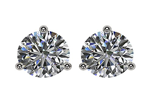 NANA 14k Gold Post Sterling Silver-Swarovski-Zirconia 3 prong-Martini Style Stud Earrings 1.5ct to 4ct