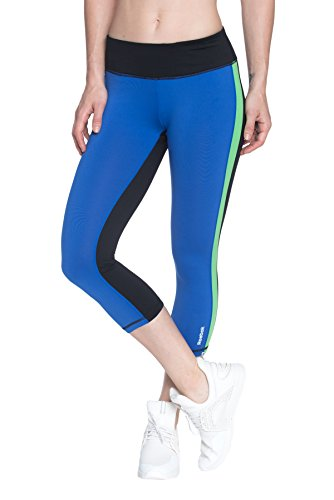 18fe47593d012 Reebok Women's Printed Capri Leggings With Mid-Rise Waist Performance  Compression Tights