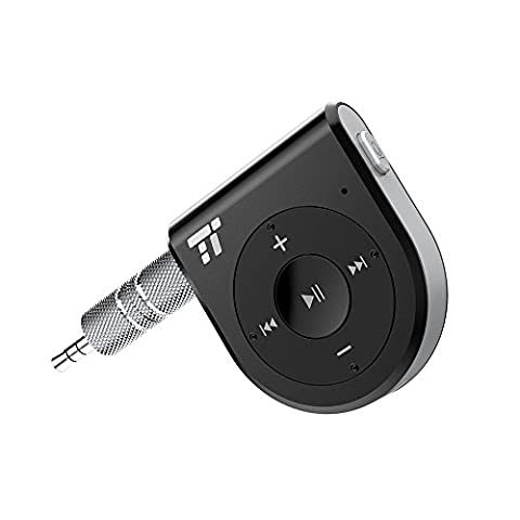 Bluetooth Receiver, Two Microphones 15 Hour Bluetooth Car Kit, TaoTronics Bluetooth 4.1 Portable Wireless Audio Adapter 3.5mm Aux Stereo Output ( One Click Siri Activation,DSP/cVc - A2dp Stereo Bluetooth Adapter