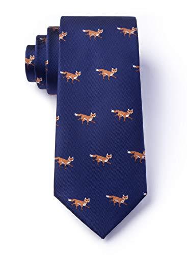 - Men's Prowling Foxes Fox Animal Skinny Narrow Tie Necktie (Navy Blue)