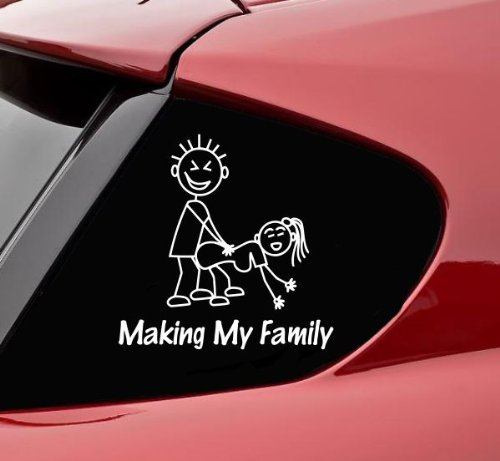 Stick Figure Decal (Making my stick figure family funny vinyl decal bumper sticker)
