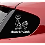 Slap-Art Making My Stick Figure Family Funny Vinyl Decal Bumper Sticker
