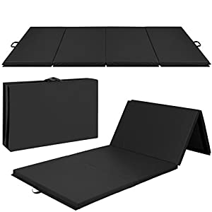 "4'x10'x2"" Gymnastics Gym Folding Exercise Aerobics Mats Black Stretching Yoga Mat Black"