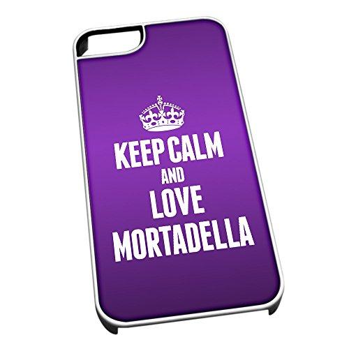 Bianco cover per iPhone 5/5S 1295viola Keep Calm and Love Mortadella