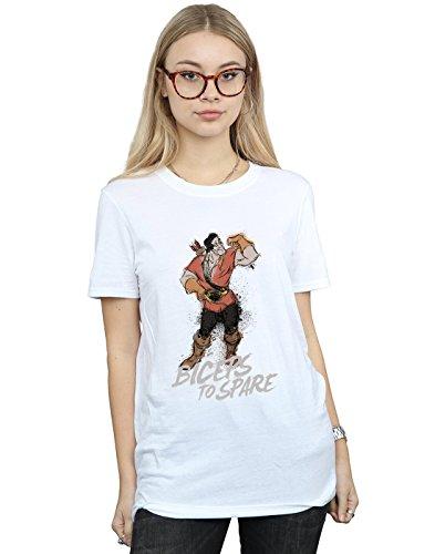 per Disney Petit la The maglietta Biceps Femme e Blanc Ami risparmiare Fit Beauty Beast Gaston fS14UwxSq