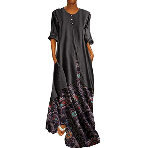 (Women's Vintage Printed Long Sleeve Loose Plain Maxi Dresses Casual Long Dresses with Pockets Fake Two-Piece Brown)