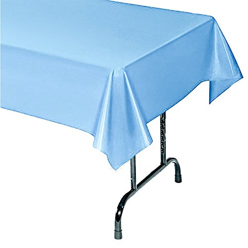 12-Pack Plastic Tablecloth - 54 In. X 104 In. Rectangle Table Covers (Light Blue, 54 In. X 104 In. Rectangle)