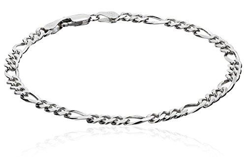 - Men's Sterling Silver Italian 4.60 mm Solid Figaro Link Bracelet, 8.5