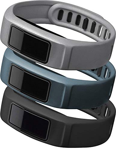 iBREK Compatible with Garmin Vivofit 2 Replacement Bands with Metal Clasp for Women Men Small Large(No Tracker)(3 Pack: Black, Gray, Slate, Large (7.4-9.8 in))
