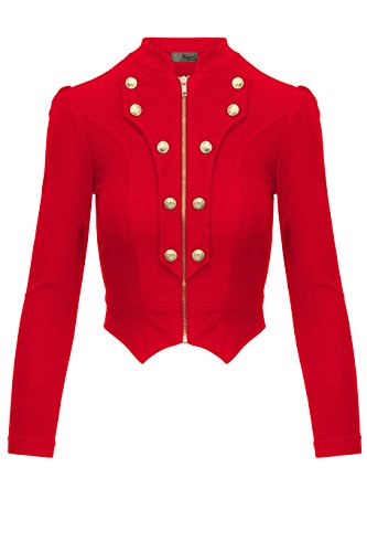 Women's Military Crop Stretch Gold Zip up Blazer Jacket KJK1125 RED Medium