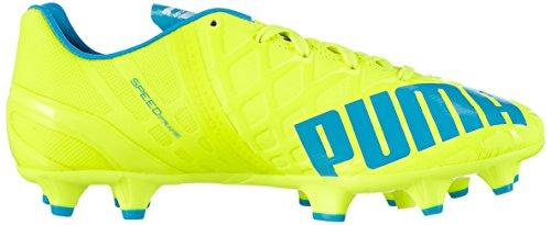 Puma Evospeed 1.4 FG Jr - Zapatillas de Fútbol de Material Sintético Niños^Niñas Amarillo - Gelb (safety yellow-atomic blue-white 04)