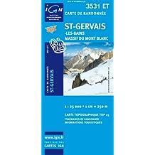 IGN TOP 25 NO.3531 ET : ST-GERVAIS, MASSIF DU MONT BLANC