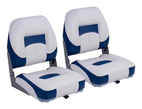 North Captain Deluxe Low Back Folding Boat Seat (2 Seats), White/Blue