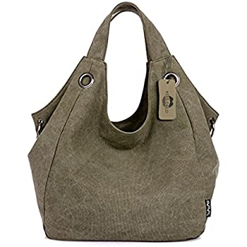 KISS GOLD(TM) Women s Simple Style Vintage Canvas Totes Hobo Bag (Army Green 8bdbd34c7722