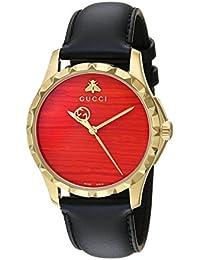 Swiss Quartz Gold-Tone and Leather Dress Black Men's Watch(Model: YA126464)