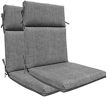Bossima Indoor Outdoor High Back Chair Cushions Replacement Patio Chair Seat Cushions Set Of 2 Olefin Light Grey Amazon Sg Home