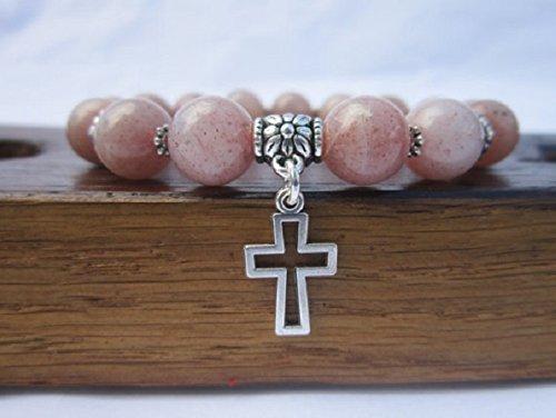 Gemstone Crucifix - Cross Bracelet, Cross Charm Bracelet, Cross Symbol Bracelet Cross Gemstone Bracelet Crucifix Bracelet, Crucifix Gemstone Cross Bracelet