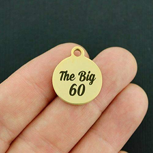 60th Birthday Gold Stainless Steel Charm - The Big 60 - BFS466GOLD