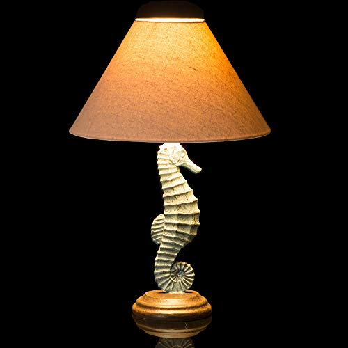 Glitzhome 20.28''H Table Lamp-Farmhouse Rustic Design,Traditional Elegant Polyresin Seahorse and Wooden Base with Neutral Lampshade Soft,Ambient Lighting Perfect for Living Room,Office (Green) (Elegant Living Rooms Coastal)