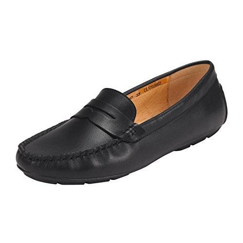 JENN ARDOR Penny Loafers for Women: Vegan Leather Slip-On Comfortable Driving Moccasins Flats-Black 8 B(M) US
