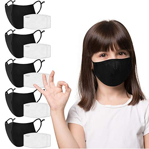 Kids Face Mask 5 Pack with 10 Filters, Black Cloth Children Face Mask Washable Reusable,3-ply for Protection,Breathable Fabric Face Mask with Nose Wire and Adjustable Ear Loops for Toddler Boys Girls