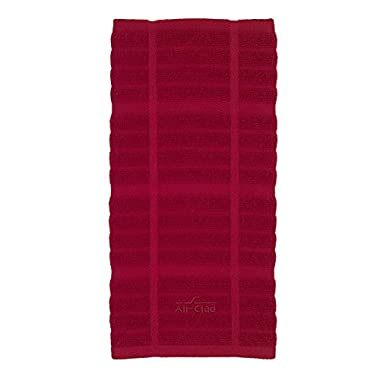 All-Clad Textiles 100-Percent Cotton Solid Kitchen Towel, Chili