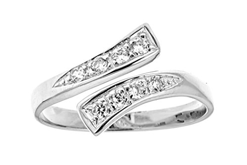Ritastephens 14k Solid White Gold Cubic Zirconia Cross Over Ring or Toe Ring Adjustable from Ritastephens