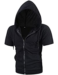 Mens Slim Fit Sleeveless Lightweight Zip-up Hoodie with Kanga Pocket