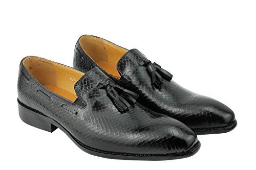 Herren echt Leder, Schwarz mit Quaste, Schlangenleder Smart Party Schuhe