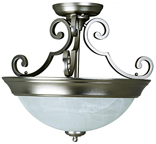 Craftmade Step (Craftmade X224-BN Bowl Semi-Flush Mount Light with Alabaster Swirl Glass Shades, Nickel Finish)