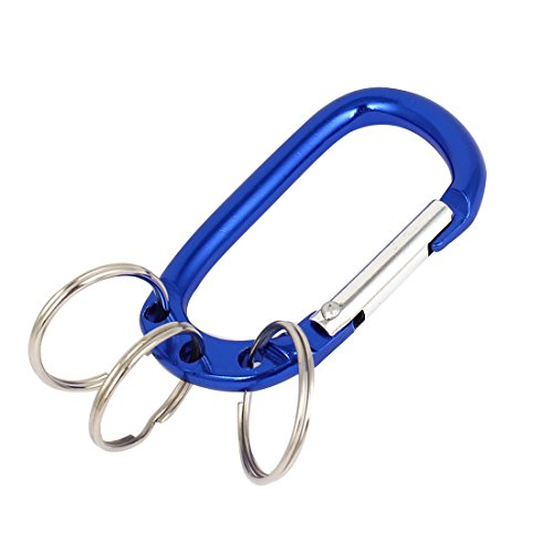 Ring Split Attached - uxcell Aluminium Carabiner Hook 3 Attached Split Key Rings Clip Holder Blue