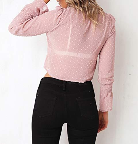 Shirts Rose Automne Tops Imprime Printemps Flare Femmes Chemisiers Court Hauts Tee Blouse Sleeve New Casual Bandage vZqqxa4
