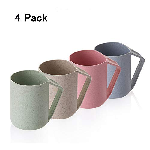 Wheat Straw Cup, Eco-friendly Biodegradable Mug Plastic Tumbler for Water Coffee Tea Pack of 4 ()