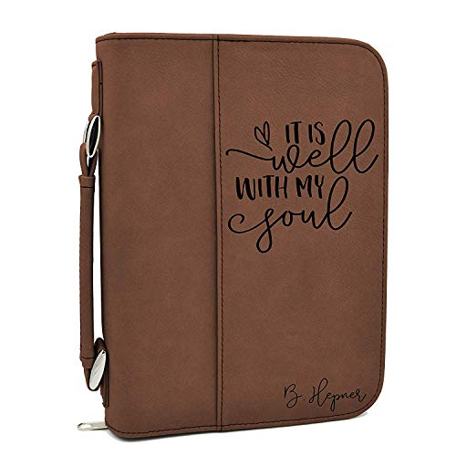 Custom Cover Pocket - Custom Bible Cover | It is Well with My Soul |Personalized Bible Cover (Brown)