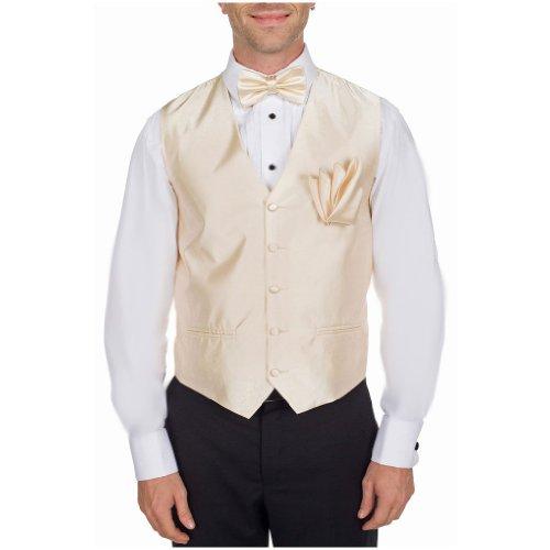 Mens Formal Solid Color Satin Tuxedo Formal Vest Bow Tie Hanky Set Cream