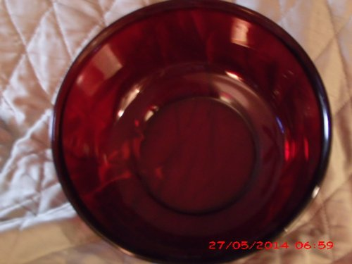 Vintage J. G. Durand ARCOROC Made in France Ruby Serving Bowl 8 3/4 Round 4