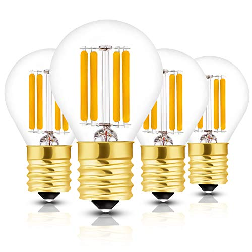 (Hizashi Super Mini Globe S11 LED Light Bulb, Dimmable, 4W E17 Intermediate Base 40S11 LED Filament Replacement Bulb, 40 Watt Equivalent, Warm White 2700K for Cabinet, Closet, Desk Lamp -)