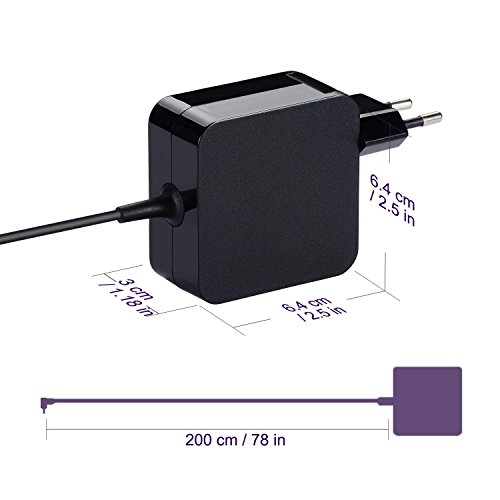 Purpleleaf Adaptador de CA Silm Portátil Cargador Portátil para ASUS F556 F556U F556UA Fuente de Alimentación ASUS Fácil de Transportar (19V 2.37A ...
