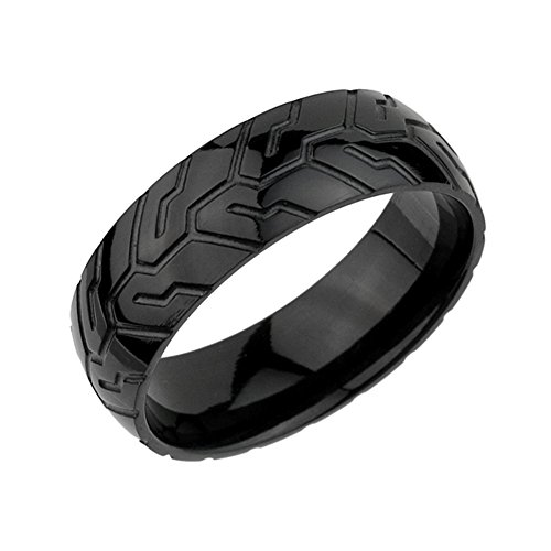 Black Tire Tread Pattern tr019 Stainless Steel Band Ring 8mm (9)