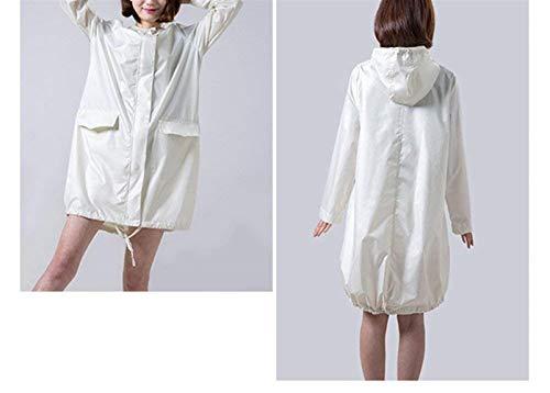 Mirada Y De Impermeables Huixin Las Outdoor Con Capucha Impermeable Libre Al Poncho Aire Clásica Mujeres Cremewhite 0qO7qw