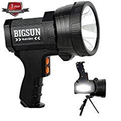 Features:  Output: 6000 lumen (max) CREE LED provides bright light over a beam distance of 800m . Main light source 3 modes available, high / low / sos. Side floodlight Lantern,2 modes available, high / low.  Long Lasting: Lighting time can r...