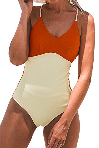 Colorblock Piece One - CUPSHE Women's Red and Beige Colorblock One Piece Swimsuit Padded Beachwear, XL