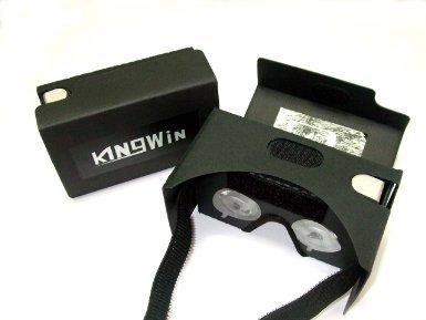 Google Cardboard kit V2 by kingwon 3D 2.0 VR Virtual Reality Glasses W Nose Padding Headset Adjustable Strap for 3.5 to 6 inches Smartphones - 2016 Rewarding Innovative,3D video glasses ---black.